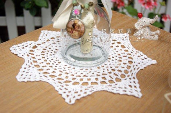 編織圓形餐墊--秘密花園--日本ZAKKA自然風格白色手勾編織圓形/餐墊/蓋布/桌墊-25CM