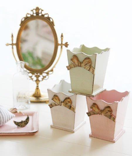 Ariel's Wish-義大利手工品牌SOLDI木頭製仿舊處理復古手工蝴蝶結筆筒刷具桶收納桶-義大利製-粉色最後一個