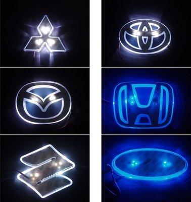 LED車標背光燈 LOGO發光 尾標燈車標數量有限(本田 豐田 馬自達 鈴木 三菱 福特車標燈 led背燈 單 雙色車標