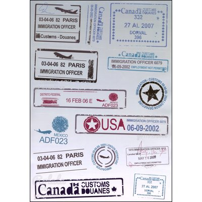 【B093】亮面整版PVC防水貼紙 海關印章日期貼紙 漸層航空標籤貼紙 仿舊飛機入境貼紙《同價位買4送1》ROLALA