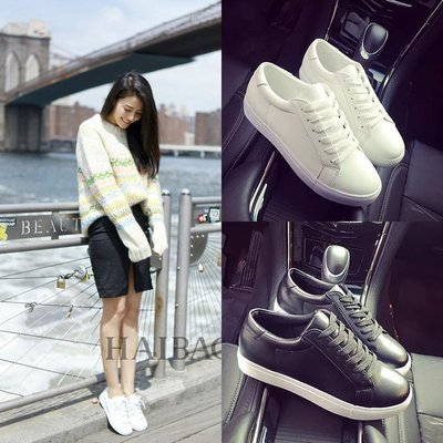明星同款 新款休閑運動鞋 女白色板鞋 平底單鞋女圓頭厚底系帶小白鞋 現貨 潮款