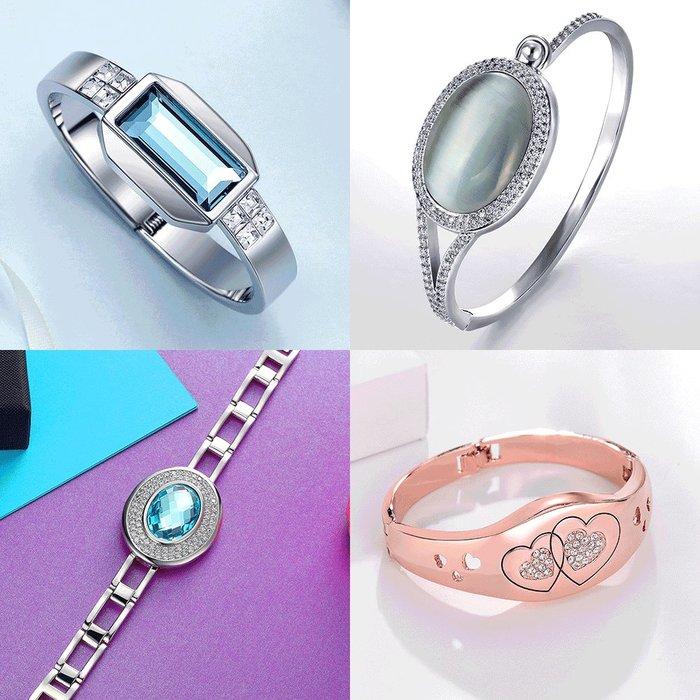 Lissom韓國代購~威妮華飾品時尚手環大氣復古手鍊百搭閃耀人工寶石手鐲女