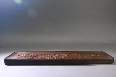 悅年堂 --- 竹雕 長方 花鳥圖 茶盤