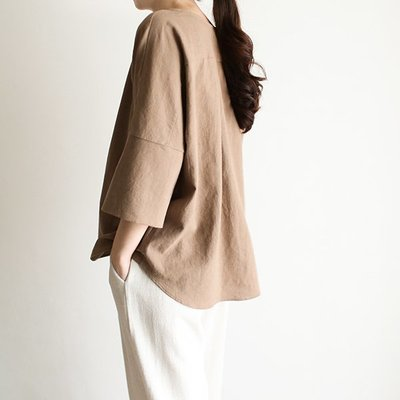 girlmonster 正韓 氣質半袖寬襯衫上衣( 米色/咖啡/紅色) 【A0554】