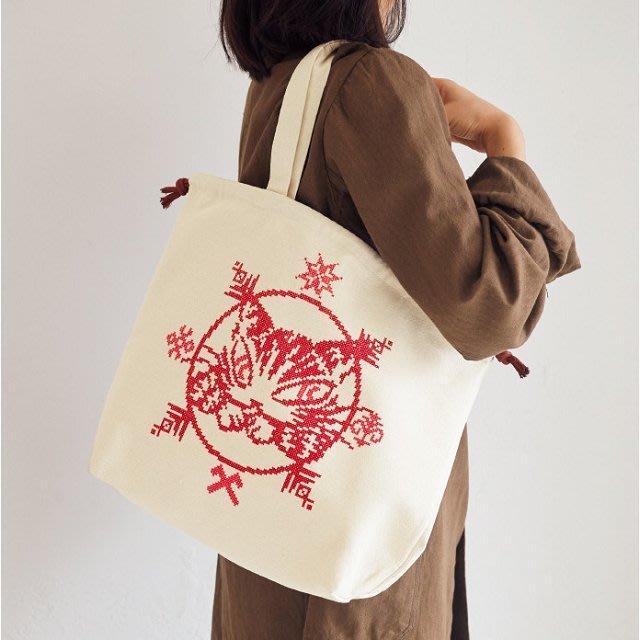 [瑞絲小舖]~日雜附錄達洋貓WachiField瓦奇菲爾德刺繡風格圖案束口提袋 托特包 單肩包 側背包 肩背包 購物袋