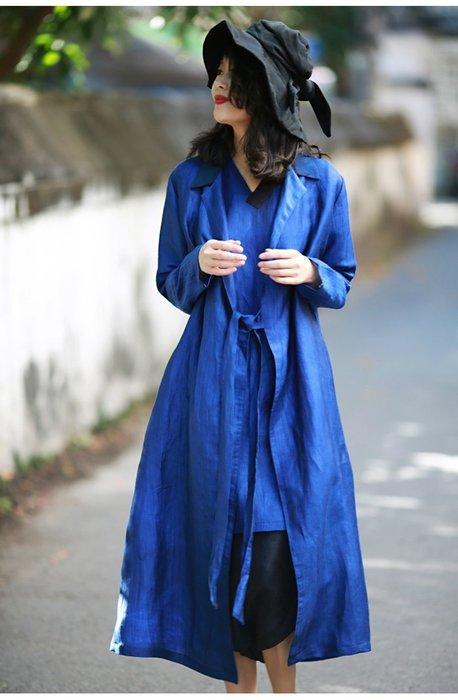 【子芸芳】設計原創新中式簡約系帶香雲紗拼接記憶錦麻風衣外套