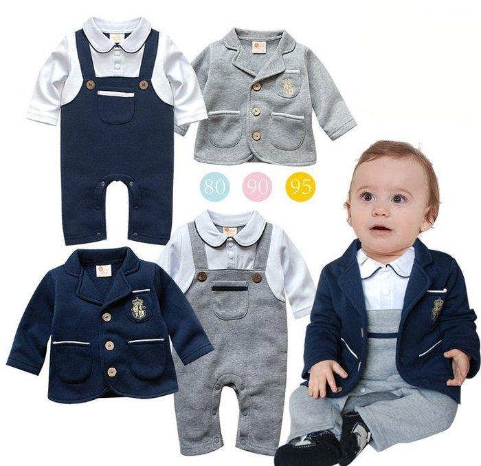 【小糖雜貨舖】學院風 背帶 長袖 套裝/連身衣/禮服/男花童/西裝造型/滿月/寶寶攝影/童裝