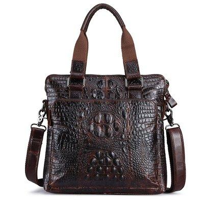 【包妳喜歡】男士商務包豎款鱷魚紋手提包時尚油蠟頭層牛皮單肩包高檔真皮包019