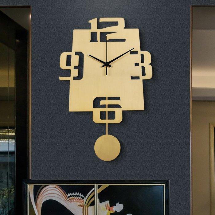 時鐘 掛鐘 純銅掛鐘掛表客廳家用時尚創意輕奢歐式時鐘個性藝術異形靜音鐘表