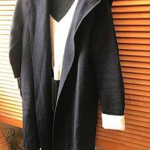 日系icb 深藍長版連帽毛衣外套