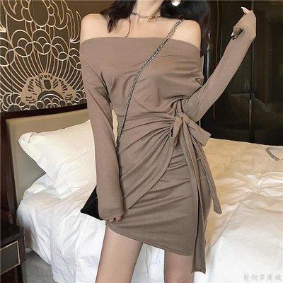 好物多商城 秋裝新款修身不規則裙子綁帶收腰一字露肩長袖A字連衣裙女裝