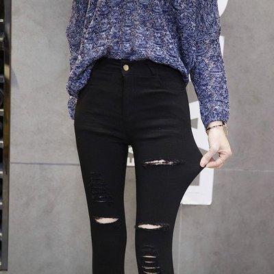 黑色破洞長褲 秋款 彈力緊身 小腳鉛筆褲 打底褲外穿 低腰 大碼 薄款女(現貨2XL)