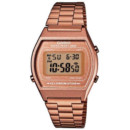 [時間達人]CASIO 大錶面簡約酒桶型數位錶B-640WC-5A-咖啡金/35mm保證原廠公司貨