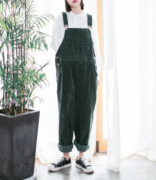 SeyeS  {韓國空運} 森林系古著復古自然休閒綠色燈心絨吊帶褲