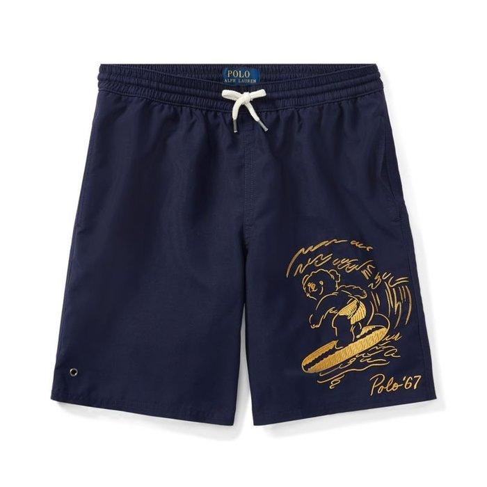 美國百分百【全新真品】Ralph Lauren 褲子 RL 口袋 小熊 泳褲 海灘褲 衝浪褲 短褲 深藍 I970