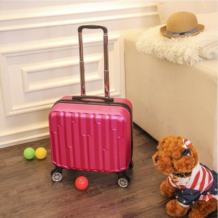 ~上品居家 ~大紅色水立方16寸 #1519 休閒 ABS帶鎖登機箱 行李箱 拉桿箱 拉杆