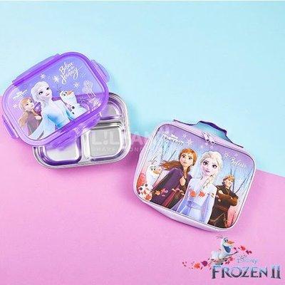 ♀高麗妹♀韓國 Disney FROZEN II《冰雪奇緣2》304不鏽鋼/餐具收納/樂扣蓋五分格餐盤&手提袋(預購)