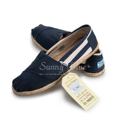 【TOMS】(女)TOMS UNIVERSITY 藍色粗條紋懶人帆布鞋-藍色 台北市