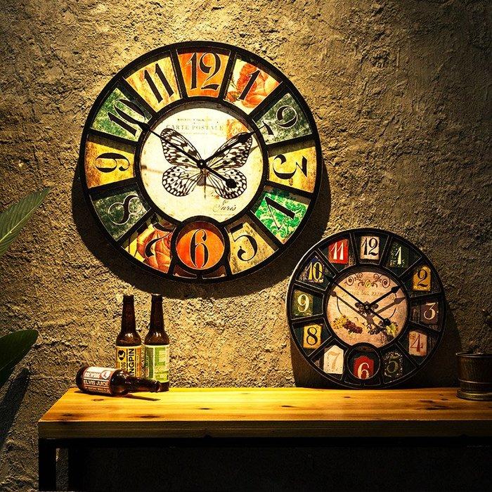 〖洋碼頭〗美式復古懷舊掛鐘客廳餐廳牆上小掛件創意田園鄉村鐘錶裝飾品壁飾 fjs120