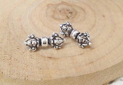 國際標準925純銀串珠材料~正純銀金剛杵墜子。水晶森林手創館925純銀材料批發賣場