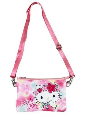 【卡漫迷】 Hello Kitty 收納袋 可觸控 櫻花 ㊣版 緞面 拉鍊 肩背 萬用包 智慧型手機 化妝包 側背包