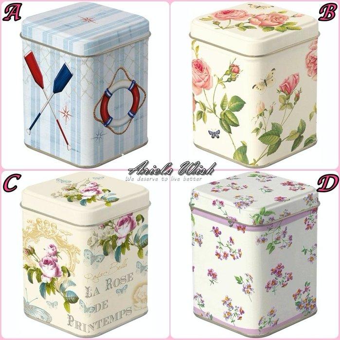 Ariel's Wish-日本夢幻藍tiffany藍海軍風連蓋式糖果罐鐵罐鐵盒茶葉罐咖啡罐茶包罐收納罐密封罐收納盒-四款