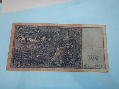 ☆孟宏館☆德國舊馬克1908年100馬克~紙鈔鈔票~H078