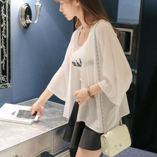 【Tracy's 貓頭鷹小姐】韓國訂單純色雪紡薄罩衫/ 氣質小外套長袖細肩女上衣草帽百搭涼鞋小可愛洋裝OL白色實拍