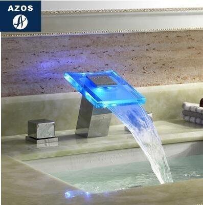 {名揚匯1851}面盆瀑布水龍頭冷熱全銅浴缸面盆水龍頭 雙把三孔臺下盆瀑布龍頭「玻璃B」