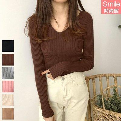 【V3065】SMILE-柔暖秋織.純色V領修身針織長袖上衣