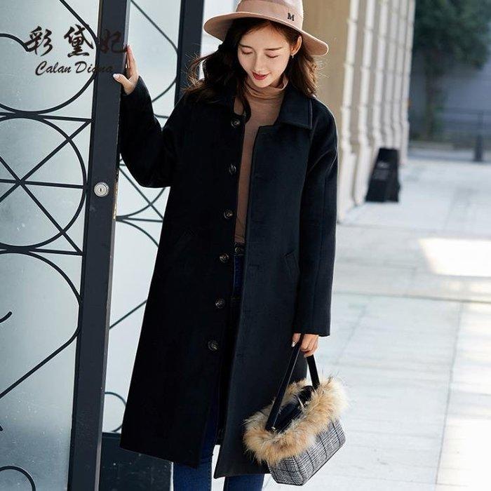 刷毛外套 休閒呢子大衣女百搭長袖大碼顯瘦中長款韓版寬潮流呢外套