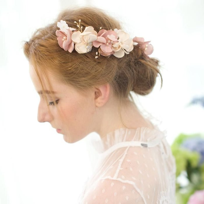 周可可 歐美精緻純天然淡水珍珠新娘發梳頭飾彩色仙女範發飾婚紗禮服頭花 ZC3760