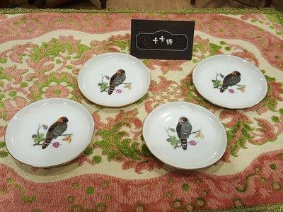 【卡卡頌 歐洲跳蚤市場/歐洲古董】歐洲老件_雀 鳥 繪圖 金邊白瓷碟 白瓷盤 瓷器皿 p1010✬
