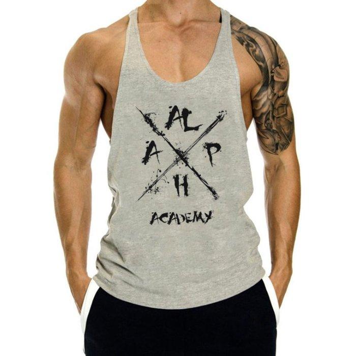 TT061 歐美爆款男士純棉印花阿爾法肌肉健身挖背背心 籃球運動衫 大開叉 重訓 運動 HITOMEN