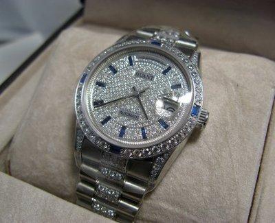 HUANT WATCH (瑞士自動上鍊eta機蕊)勞力士款高級滿天星中排精鑽男腕錶型號:HRX862G (神梭鐘錶)