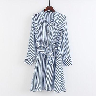 CHOU CHOU→直條紋縮腰綁帶厚實雪紡長袖襯衫洋裝