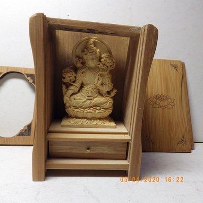 紫晶宮**精品隨身佛龕黃楊木白度母(救世度母)木雕佛像**盒子10.8釐米*7.6釐米*5.2釐米