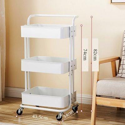 3層小推車置物架($248包送貨),可移動多層收納架.置物架廚房可移動美容院手推車帶輪落地多層收納架子