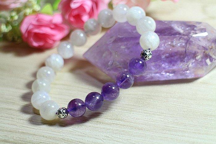 { 石 曜 } 天 然 紫水晶 月光石 銀飾 水晶手鍊 搭配款 促銷 運費可合併 CC-23