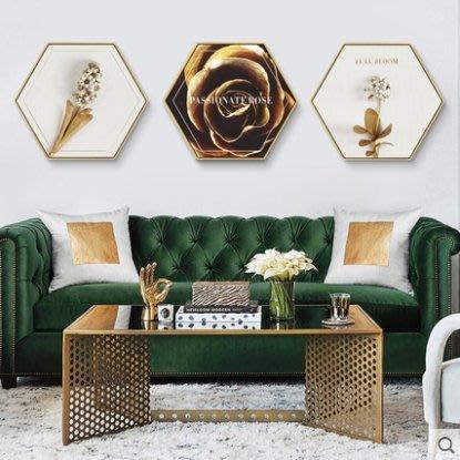 『格倫雅』璀璨六邊形裝飾畫金色菠蘿掛畫客廳沙發背景墻畫輕奢簡約美式壁畫^25749