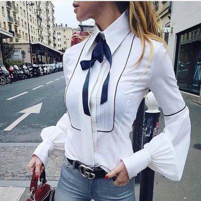 香榭大道見吧   純白蝴蝶結燈籠袖襯衫