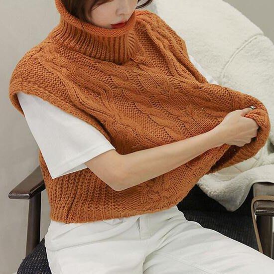背心針織衫 高領麻花針織馬甲小罩衫 艾爾莎【TGK8599】