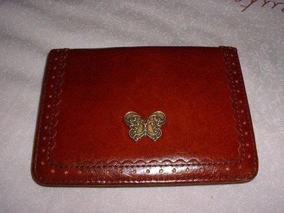 **熊媽媽商店** anna sui 安娜蘇經典款咖啡色蝴蝶信用卡夾/名片夾/證件夾