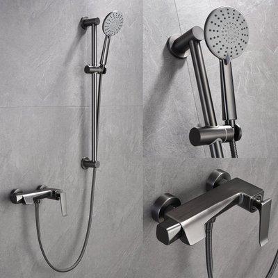 原廠正品LEAPING驪品浴室拉絲灰色簡易淋浴花灑套裝冷熱水浴缸龍頭北歐ins