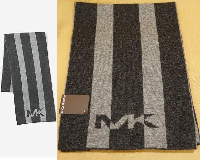 大降價!全新 Michael Kors MEN MK 高質感灰黑色條紋設計羊毛圍巾!低價起標無底價!本商品免運費!