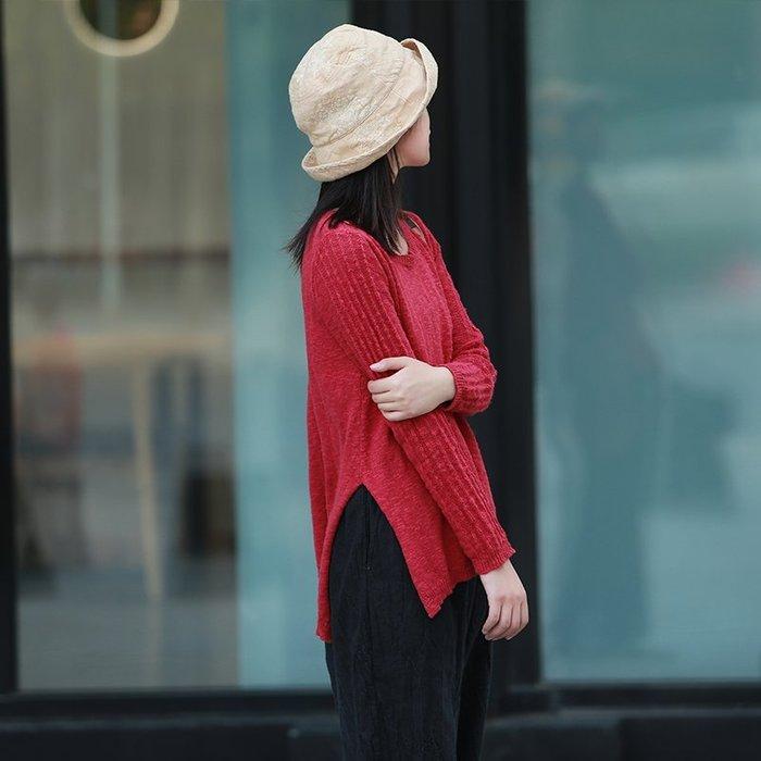 【鈷藍家】棉麻臆想 自製畫簷秋純棉線針織衫提花復古紅色圓領休閒顯瘦側開叉毛衣