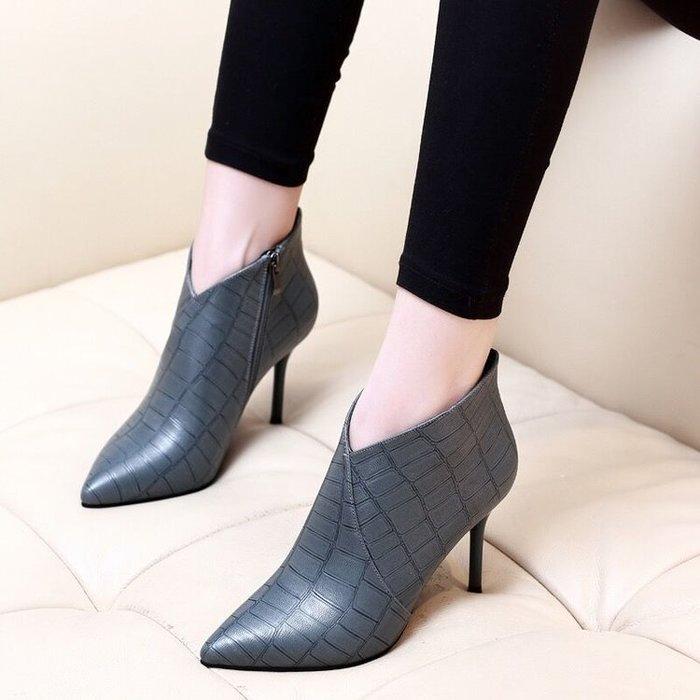 【閃亮登場】馬丁靴性感高跟鞋歐美尖頭側拉鏈短靴2018新款女秋冬時尚裸靴細跟馬丁靴歐美