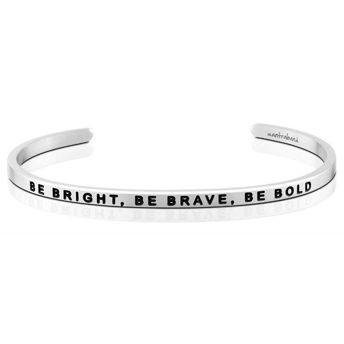 MANTRABAND  美國悄悄話手環 銀色 Be Bright Be Brave Be Bold 聰明勇敢膽大