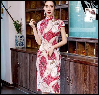 【Fashion歐洲站】中長款春夏新款改良版旗袍年輕款絲綢老上海復古連衣裙女