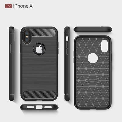 iPhone X 拉絲炭纖維機背軟膠保護套